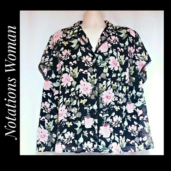 Notations Tops - Notations Woman Floral Button Down Blouse Size 3X